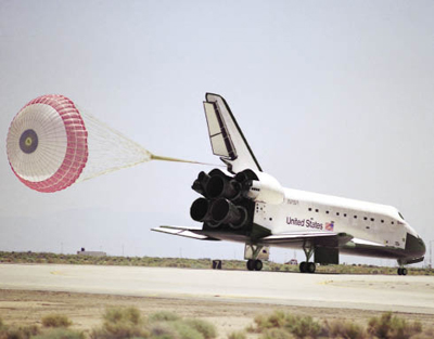 during a space shuttle landing a parachute deploys - photo #7