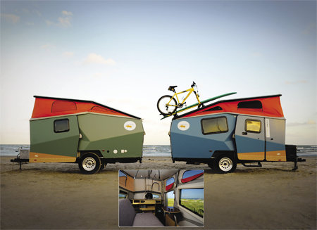 Two Cricket Trailers at the beach and Interior
