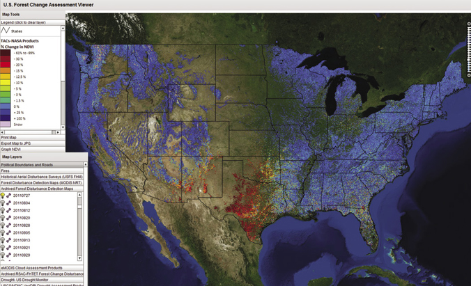 This Image From Forwarn A Forest Monitoring System That Utilizes Nasa Satellite Data Shows Where A Drought Hit The Southern United States In 2011