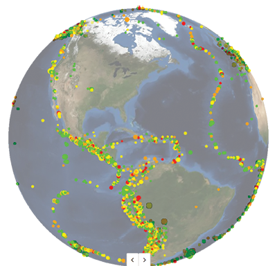Quake hunter maps a century of quakes worldwide visualization of about years worth of earthquakes in the western hemisphere gumiabroncs Image collections