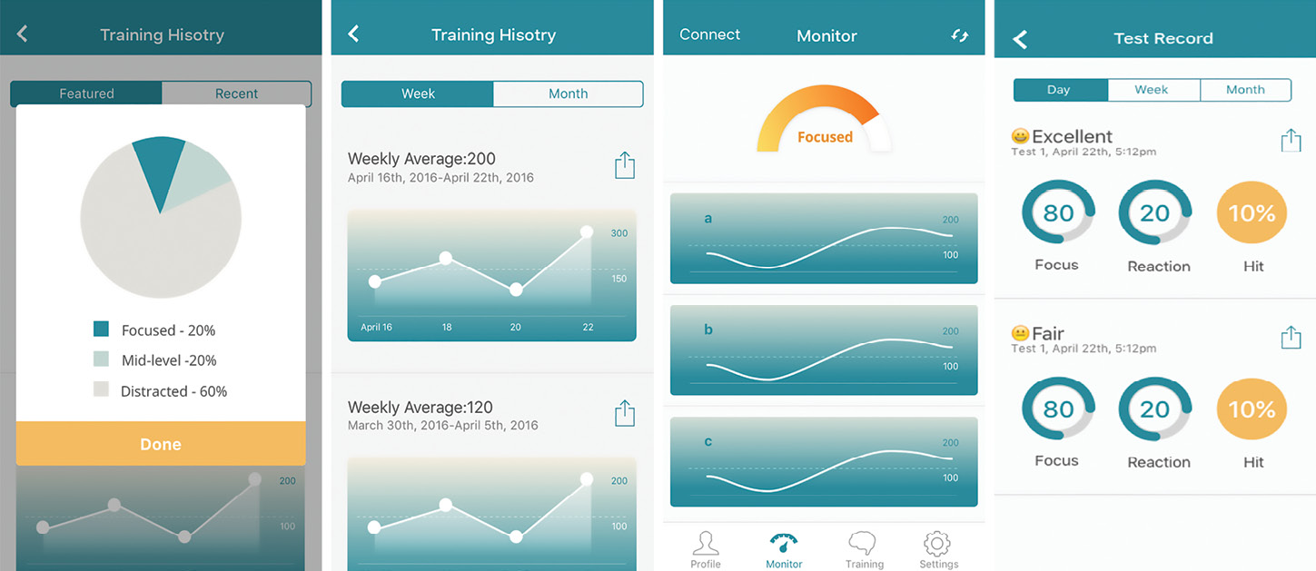 Smartphone screens display the BrainCo app interface