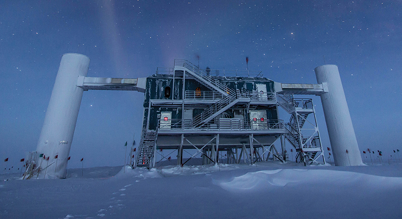 Exterior of the IceCube Neutrino Observatory at the South Pole