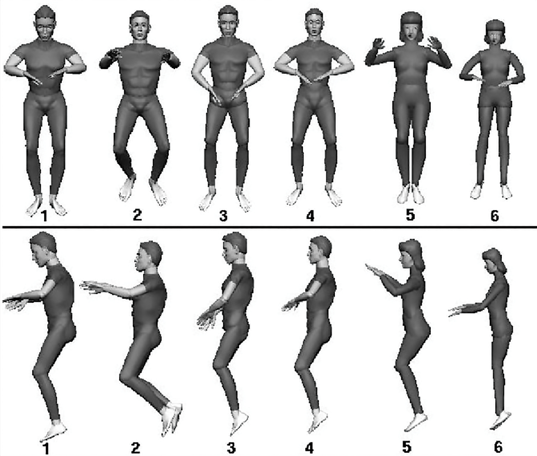 Six frontal and side views of people in various positions of neutral body posture