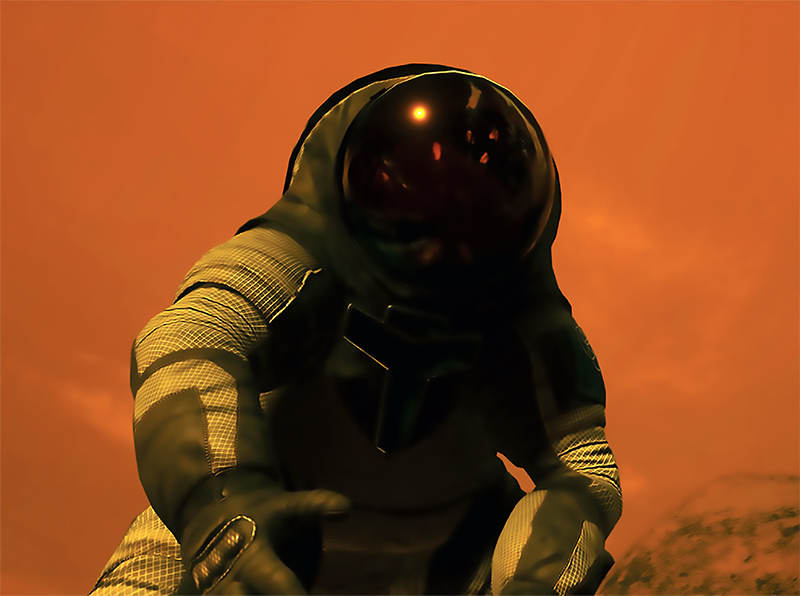 Virtual reality image of an astronaut on Mars