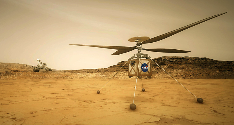 An artist's rendering of the Mars Helicopter sitting on the ground with the Mars 2020 rover off in the distance