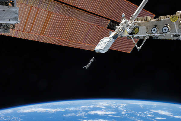 Dove nanosatellites launching from the International Space Station