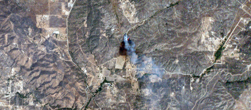 Image of a wildfire taken by Dove nanosatellites