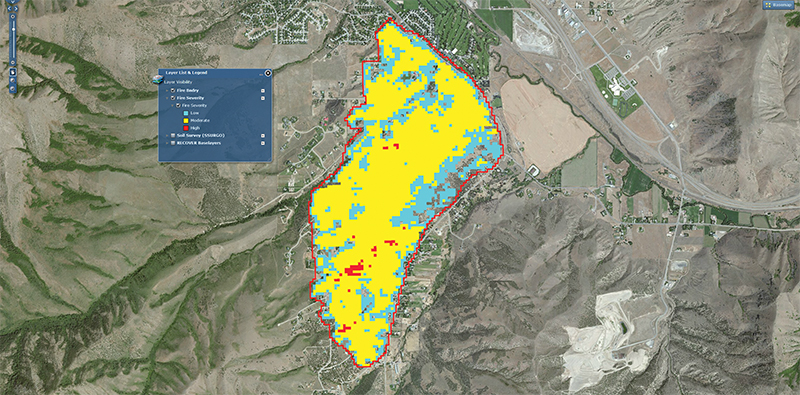 Map indicating severity of damage from wildfire