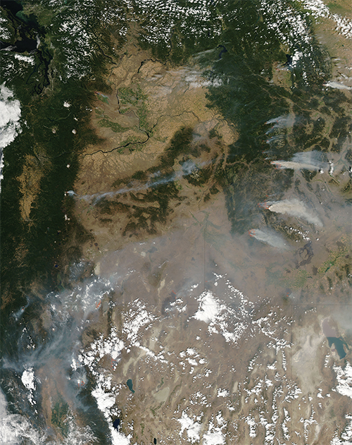 Multiple wildfires raging across Idaho in the summer of 2012.