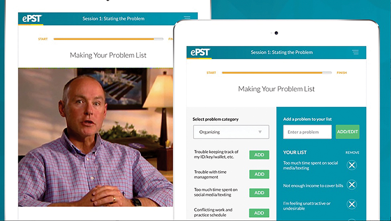 Screen shot of the ePST virtual therapist software