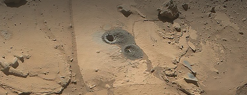 Hole drilled into the surface of Mars
