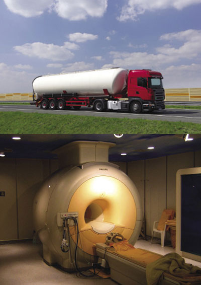 A tanker truck and magnetic resonance imaging machine