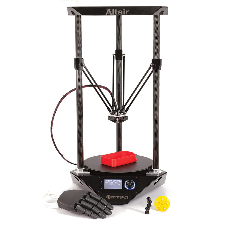 The Altair-3D printer, with printed samples