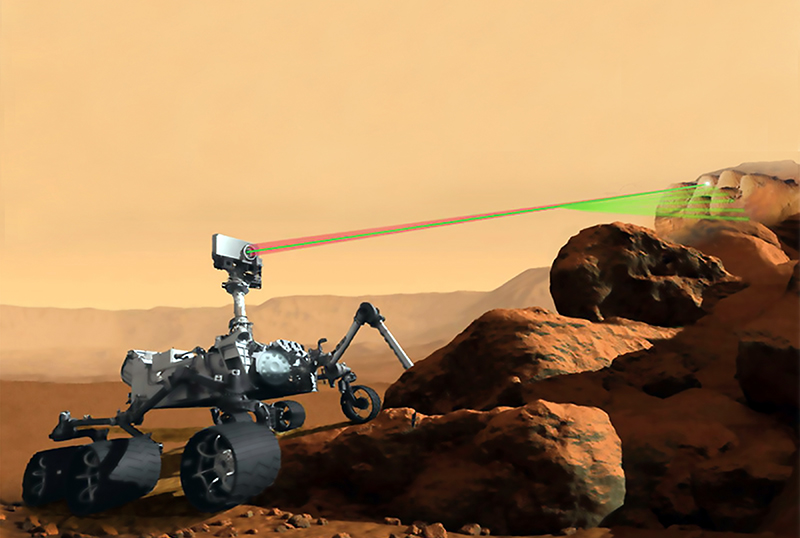 Artist's rendering of Mars 2020 rover zapping a rock with a laser