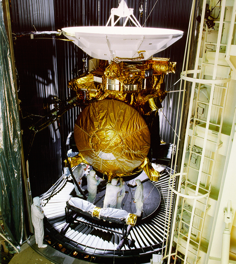 Engineers work on the Cassini space probe