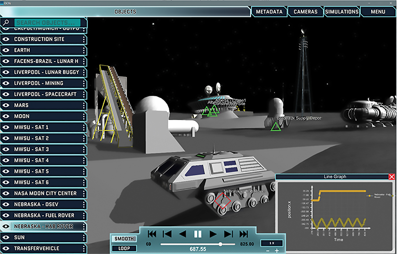 Screenshot of Moon City in the Simulated Exploration Experience platform