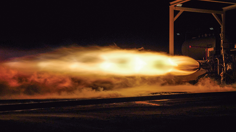 Flames erupt from rocket engine during testing