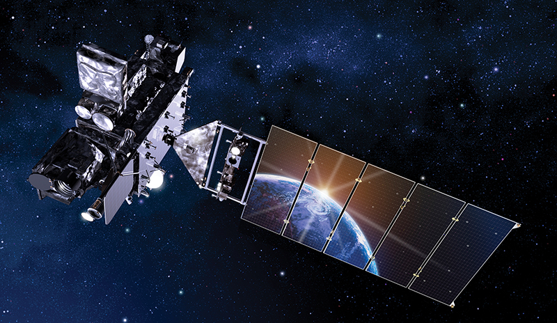 An artist's rendition of a GOES-R satellite with Earth reflected in the solar array.