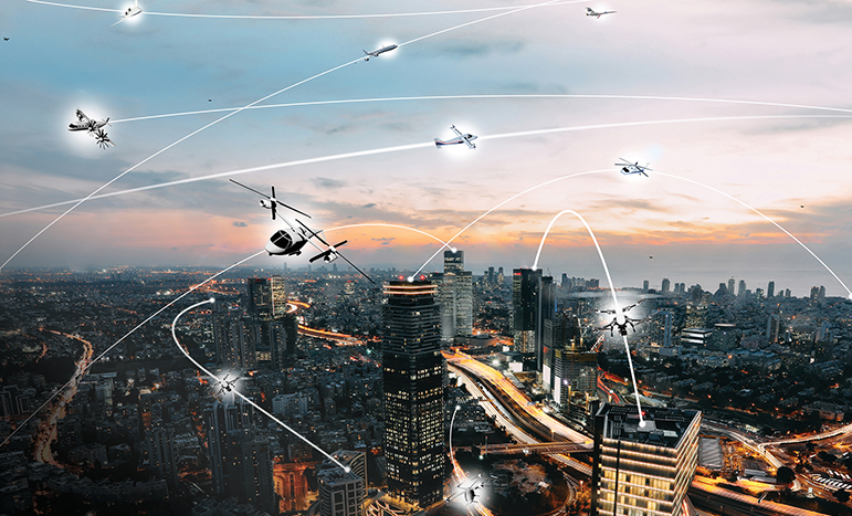An artist's rendering of a future city with many small, low-flying aircraft and their paths depicted as white arcs