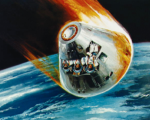 Illustration of the Apollo command module's fiery descent back to Earth