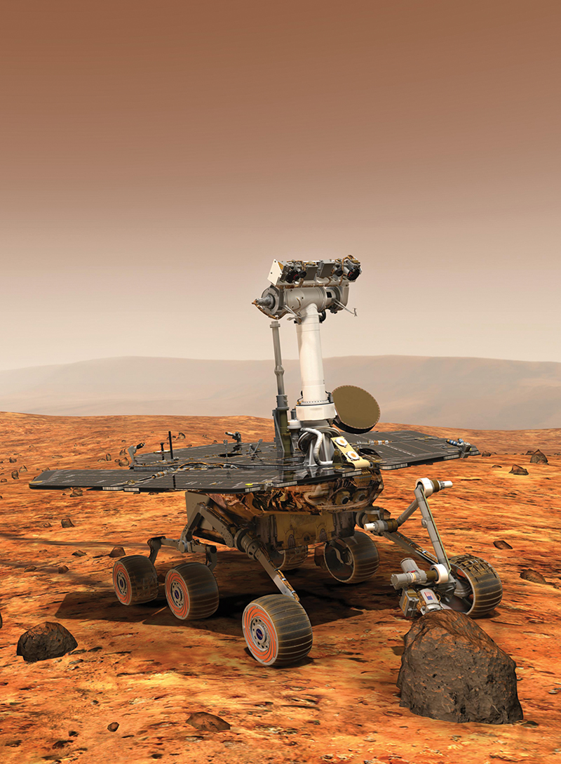An artist's rendering of a Mars rover on the Red Planet's surface
