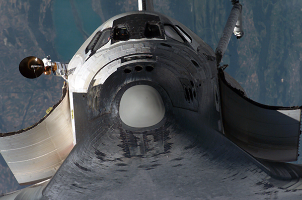 A view of the Space Shuttle's nose cone