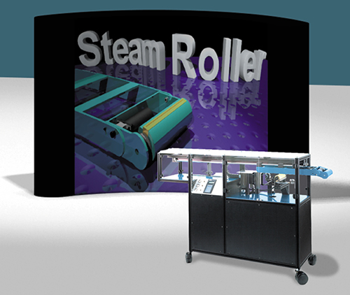 SteamRoller unit on wheels with a SteamRoller display in the background