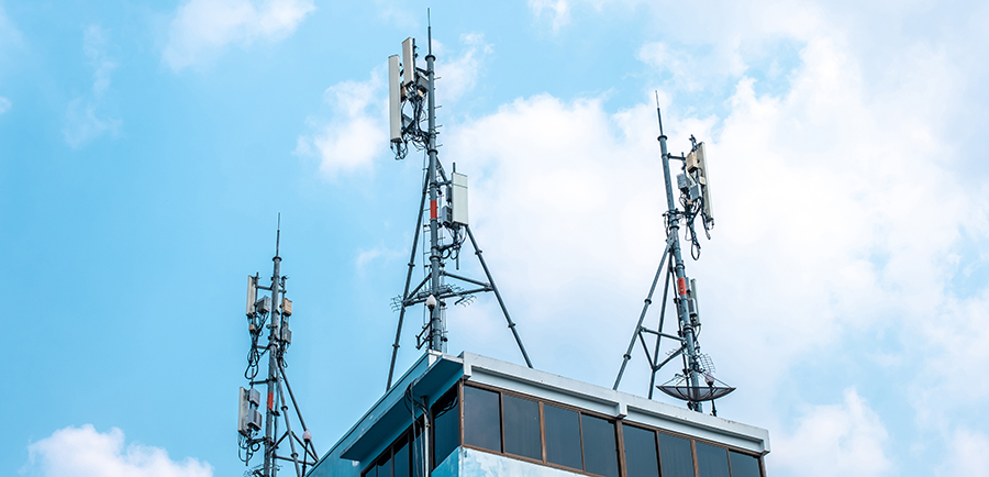 Cellular towers on top of a building