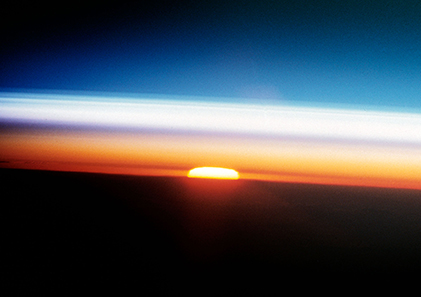 A cross section of the Earth's atmosphere at sunset