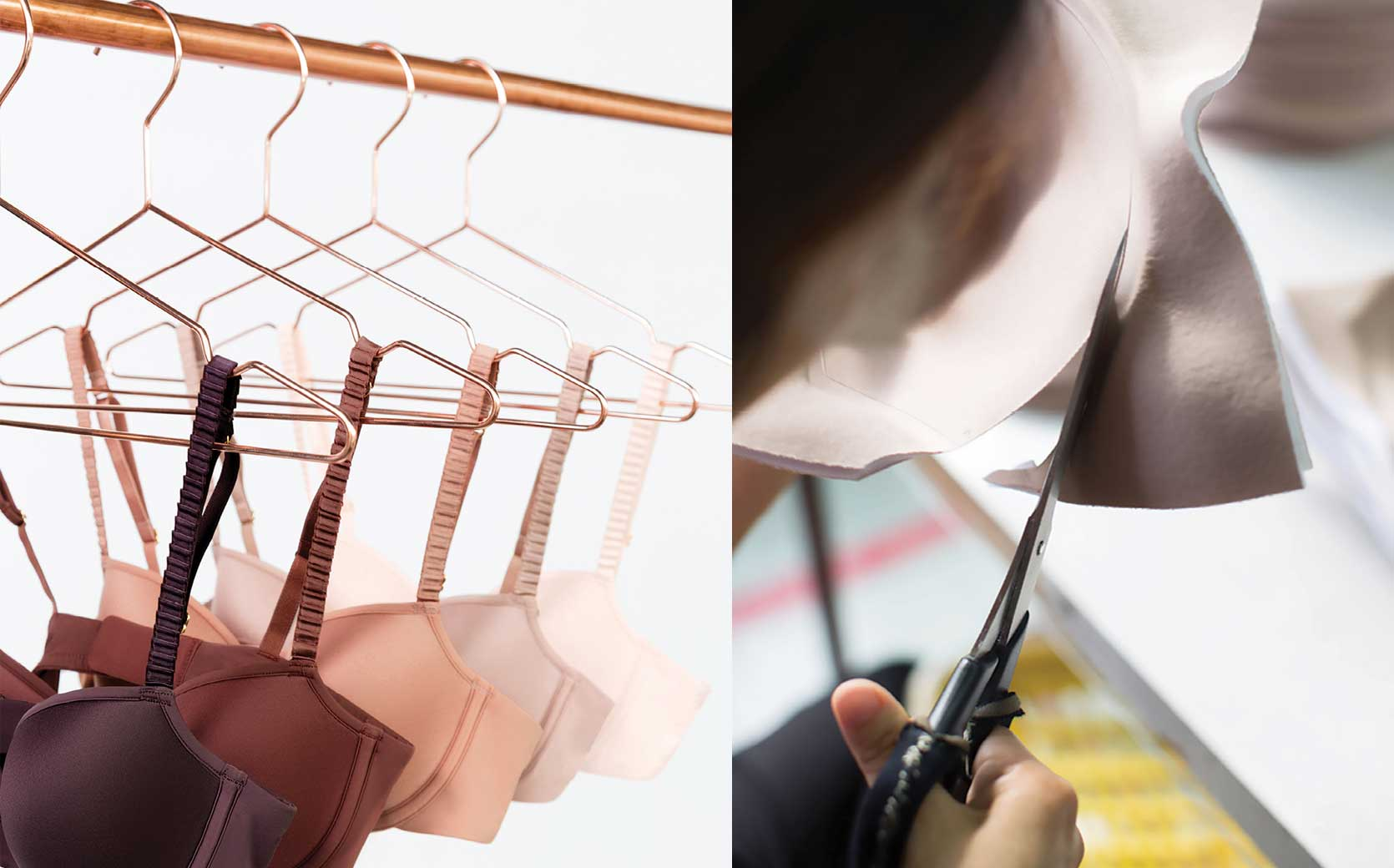 Bras hang on hangers in a closet, and a bra being made by hand