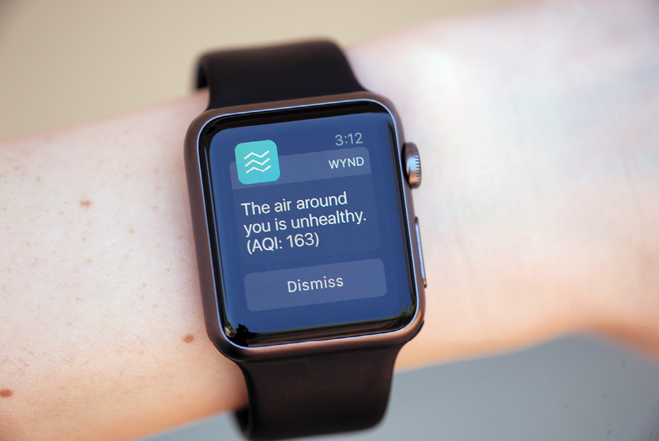 A smart watch displays the Wynd app