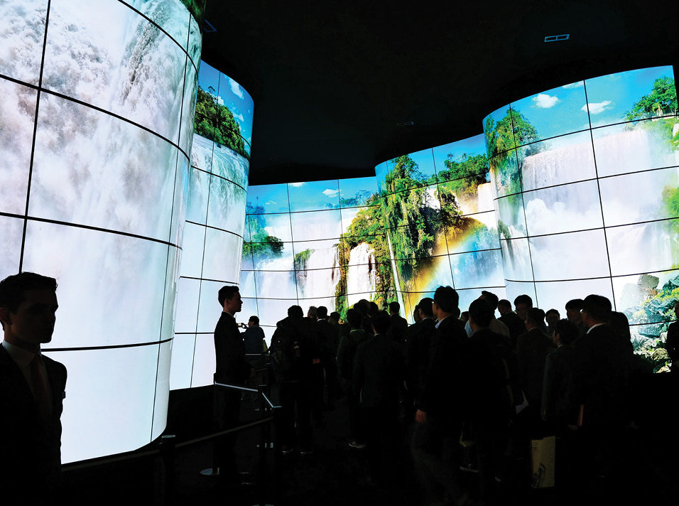 Waterfalls displayed across multiple OLED screens in an elaborate curved arrangement