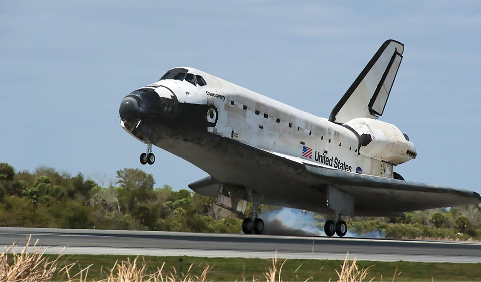 The Space Shuttle lands