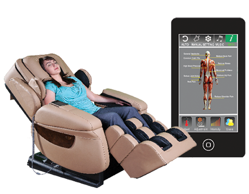 A woman reclines in a i7PLUS massage chair and a cell phone with a screen showing the app that controls the chair