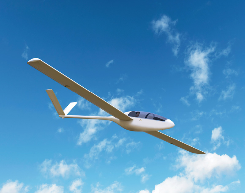 High-altitude glider in blue skies
