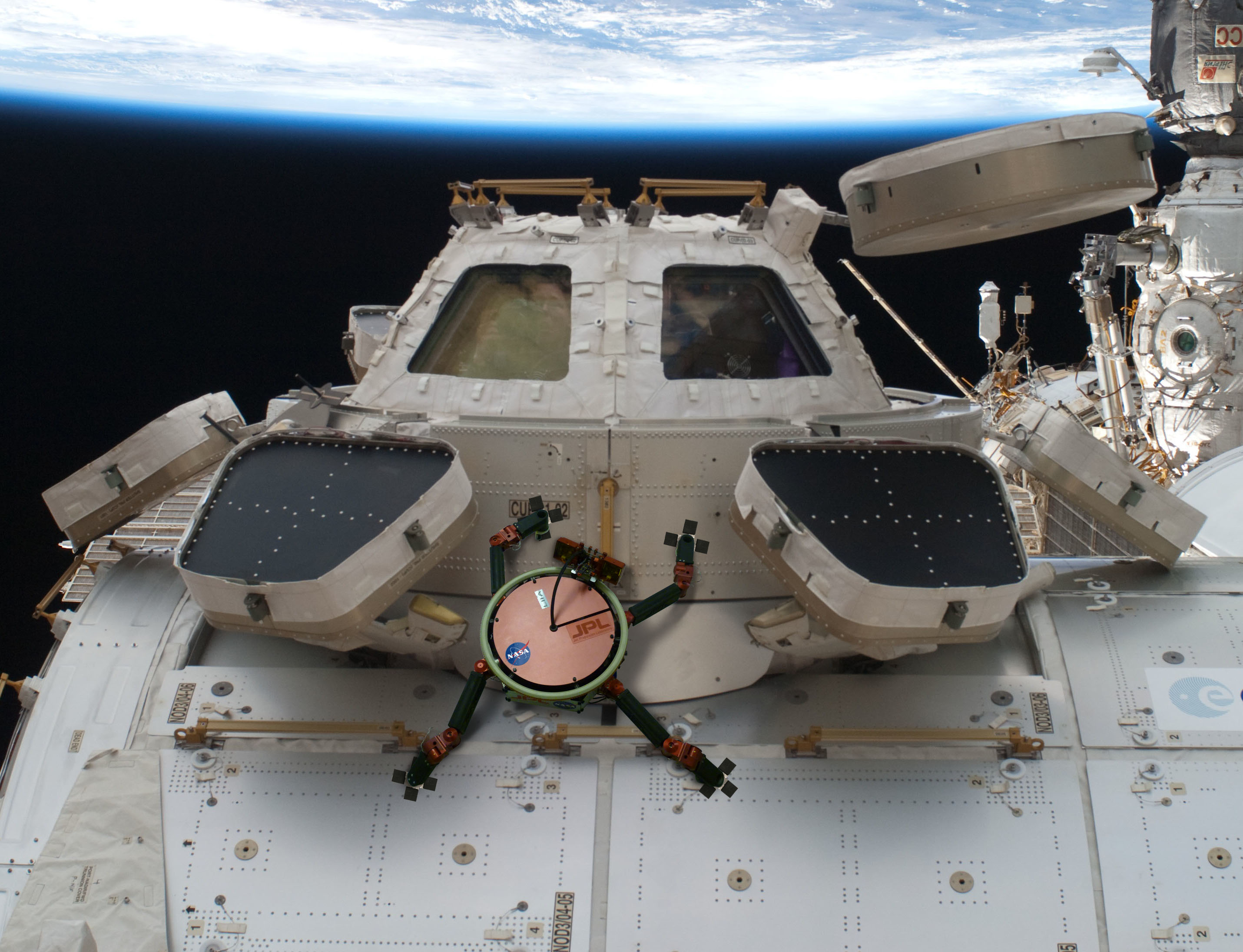 a Limbed Excursion Mechanical Utility Robot (LEMUR) climbs around the outside of the space station. The Jet Propulsion Laboratory (JPL) considered outfitting LEMUR with its gecko-imitating gripper technology