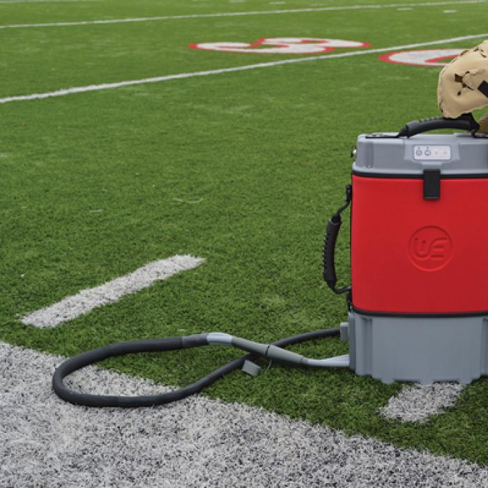 Cooling system displayed on a football field