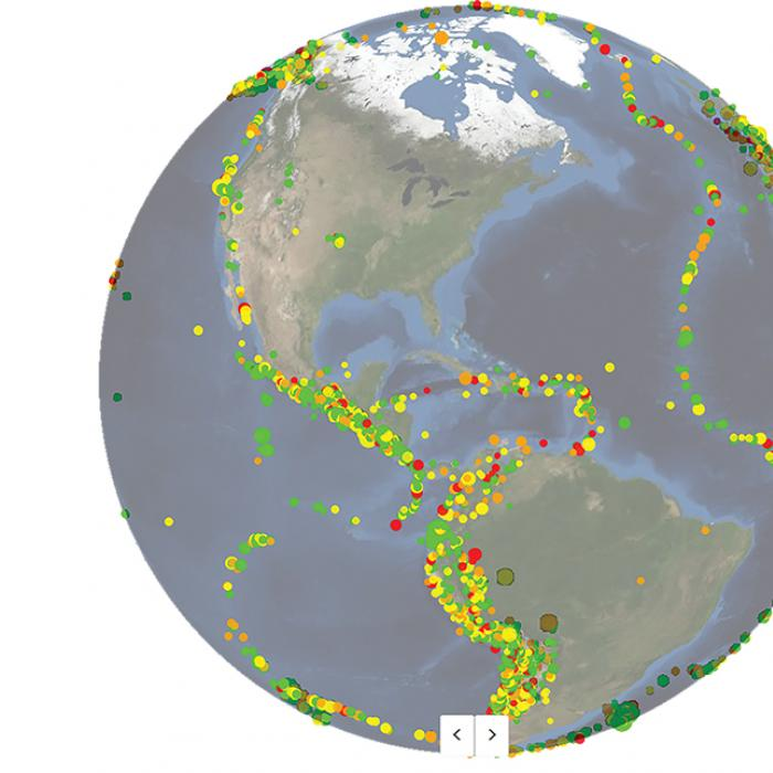 Visualization of about year's worth of earthquakes in the Western Hemisphere