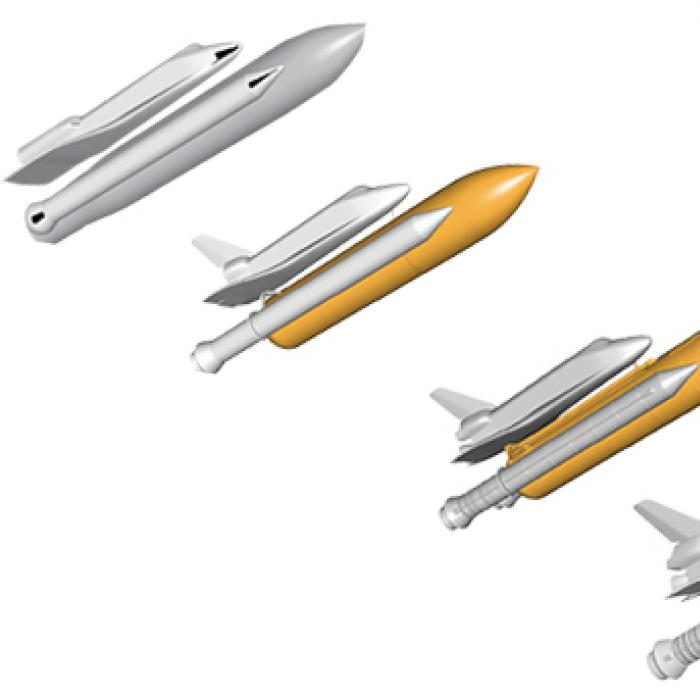 Progressive renderings of the Space Shuttle, external fuel tanks, and boosters showing increased level of detail