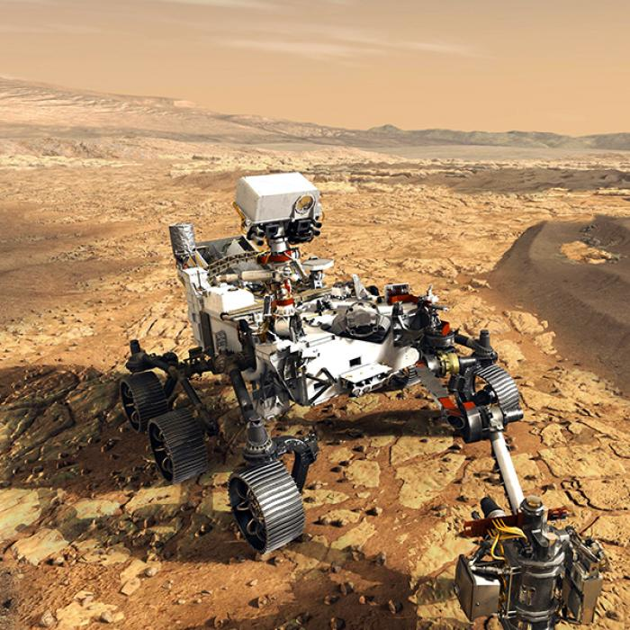 This artist's concept depicts NASA's Mars 2020 rover on the surface of Mars