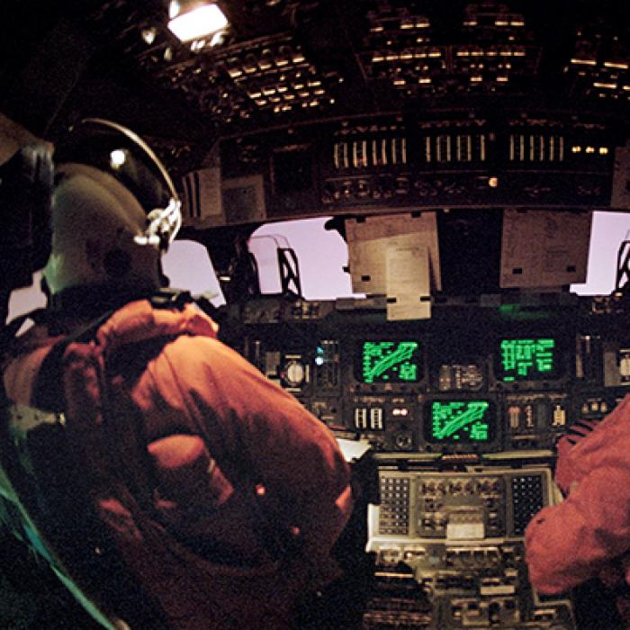 cabin view of the space shuttle during STS-42 reentry