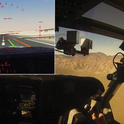 Pilot flies over mountains with a virtual runway superimposed