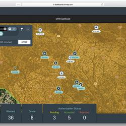A screenshot of what an airspace manager might see, with vehicles plotted across the airspace and other metrics