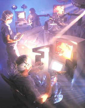 shows doctors seated in the ZEUS Robotic Surgical System, from which they can perform minimally invasive surgeries without suffering from fatigue or stress during lengthy operations